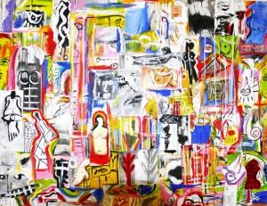 """Kinkas Caetano, """"Fragments K1"""", acrilico sobre tela (81 x 100 cm)"""